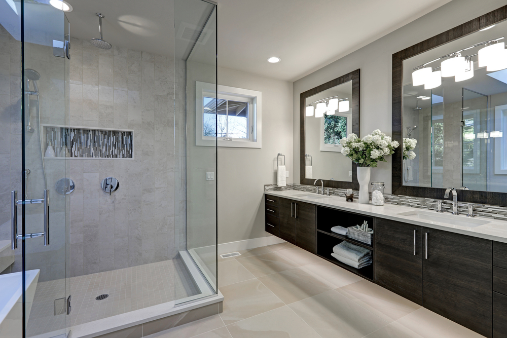 Remodeled bathroom with new stand up shower